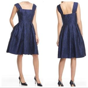 Gal Meets Glam Flora Embossed Fit & Flare Dress